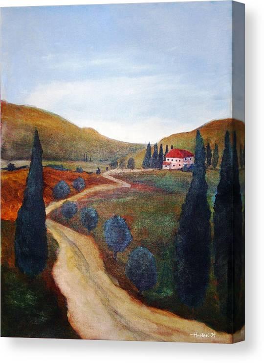 Rick Huotari Canvas Print featuring the painting Tuscan Farmhouse by Rick Huotari
