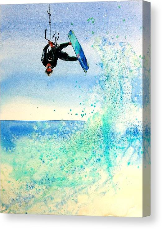 Kiteboarding Canvas Print featuring the painting Xtreme Big Air by Lynee Sapere