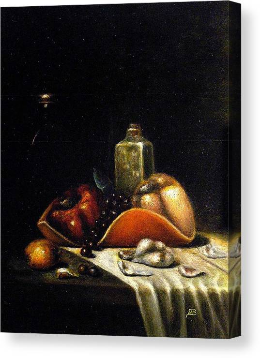 Still Life Canvas Print featuring the painting Bell Peppers on the Orange Tray by MM Zurahov
