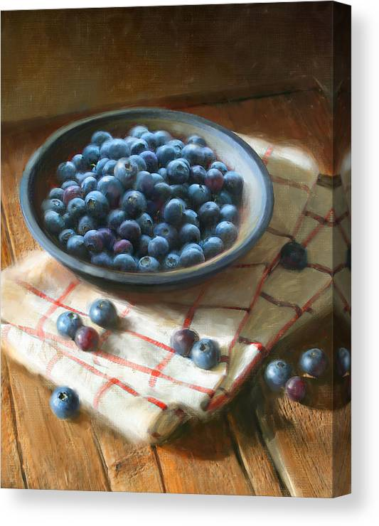 Blueberries Canvas Print featuring the painting Blueberries by Robert Papp