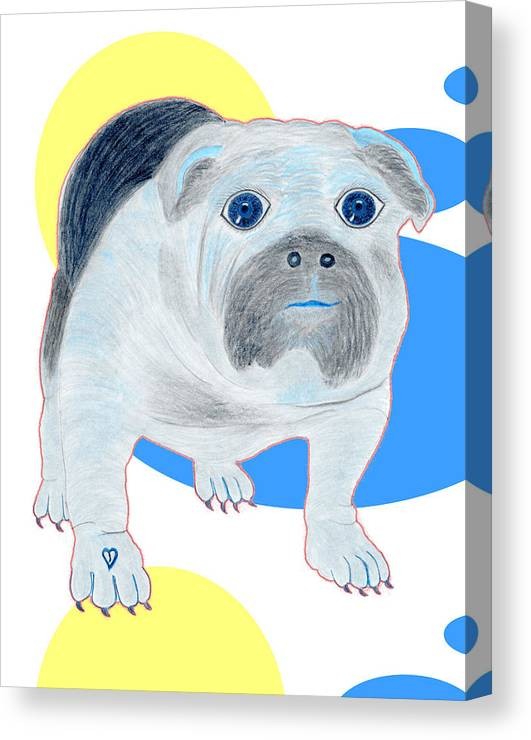 Dogs Canvas Print featuring the painting Charlie The Bulldog by Tess M J Iroldi