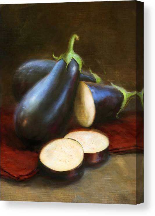 Vegetables Canvas Print featuring the painting Eggplants by Robert Papp