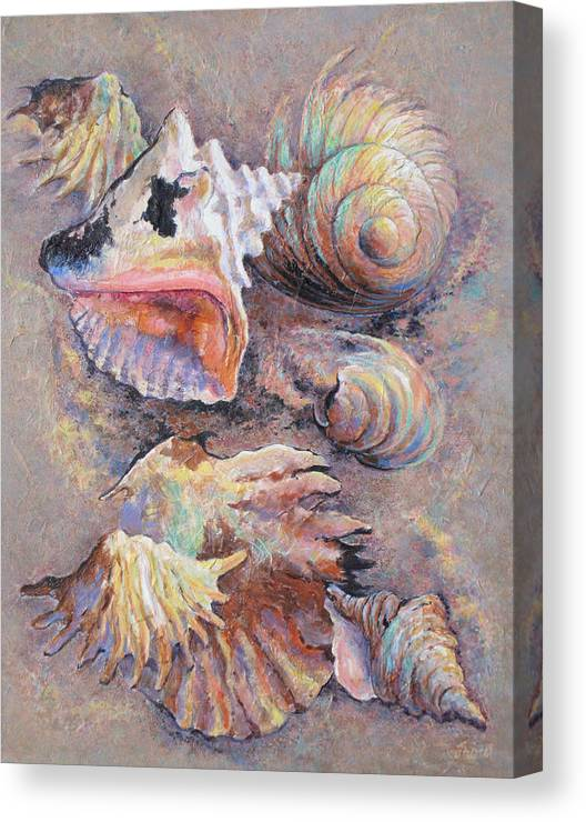 Multicolored Seashells Canvas Print featuring the painting From Ancient Designs by Don Trout