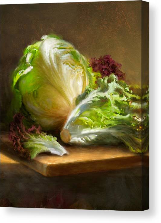 Lettuce Canvas Print featuring the painting Lettuce by Robert Papp