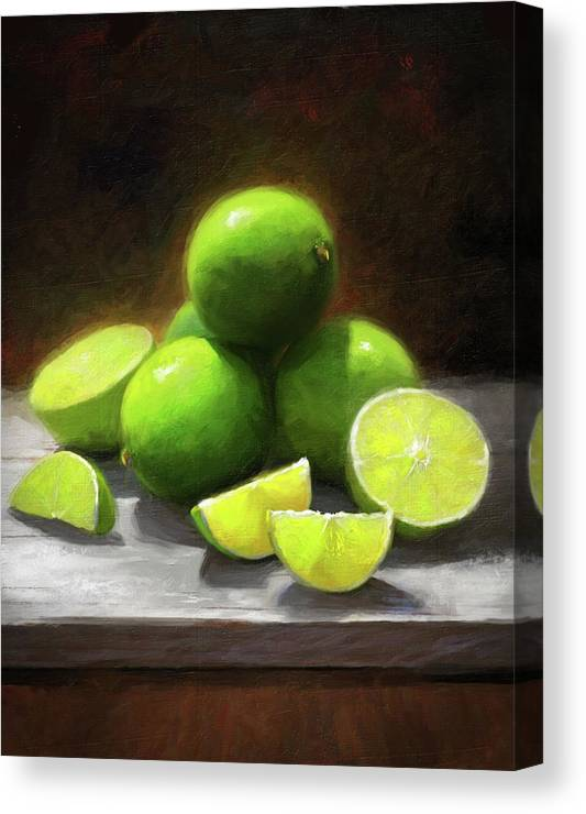 Limes Canvas Print featuring the painting Limes In Sunlight by Robert Papp
