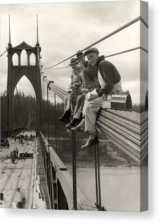 St. John's Bridge Canvas Print featuring the photograph Men on Bridge by Ray Atkeson