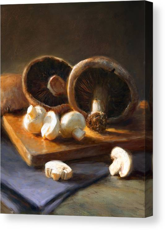 Mushrooms Canvas Print featuring the painting Mushrooms by Robert Papp