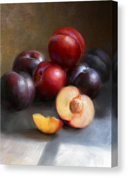 Plums Canvas Print featuring the painting Red and Black Plums by Robert Papp