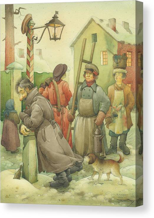 Russian Winter Canvas Print featuring the painting Russian Scene 06 by Kestutis Kasparavicius