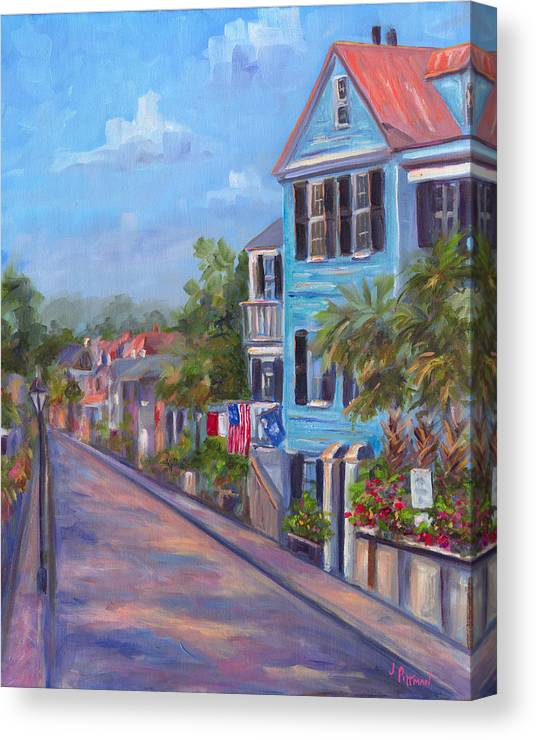 Charleston Street Scene South Carolina Homes Houses Historic District Low Country Art Painting Prints Colorful Houses Canvas Print featuring the painting Water Street in Charleston by Jeff Pittman