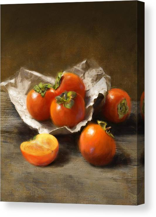 Persimmons Canvas Print featuring the painting Winter Persimmons by Robert Papp