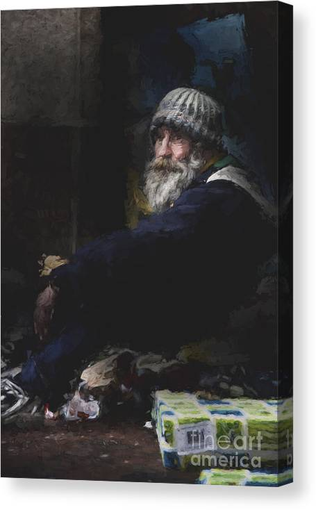 Man In Hat Canvas Print featuring the photograph Man in woolly hat by Sheila Smart Fine Art Photography