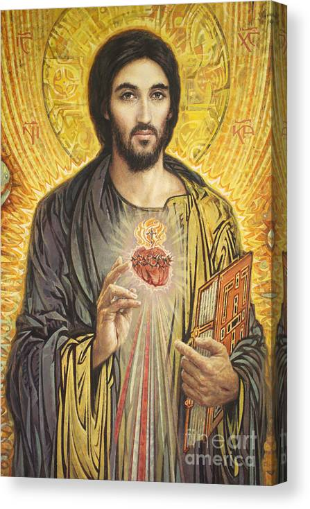 Sacred Heart Of Jesus Canvas Print featuring the painting Sacred Heart of Jesus olmc by Smith Catholic Art