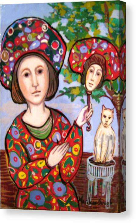 Medieval Canvas Print featuring the painting The Mirror by Marilene Sawaf