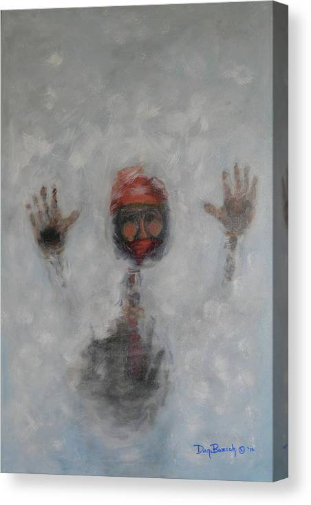 Winter Canvas Print featuring the painting Frosty Window by Dan Bozich