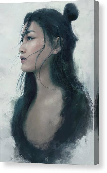 Warrioress Canvas Print featuring the painting Blue Portrait by Eve Ventrue