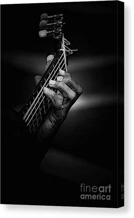Guitar Canvas Print featuring the photograph Hand of a guitarist in monochrome by Sheila Smart Fine Art Photography