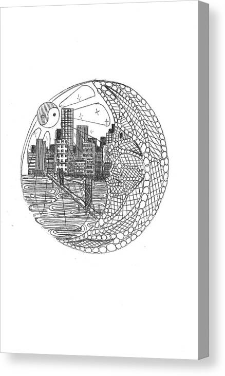 Canvas Print featuring the drawing Safety Net by Harry Richards