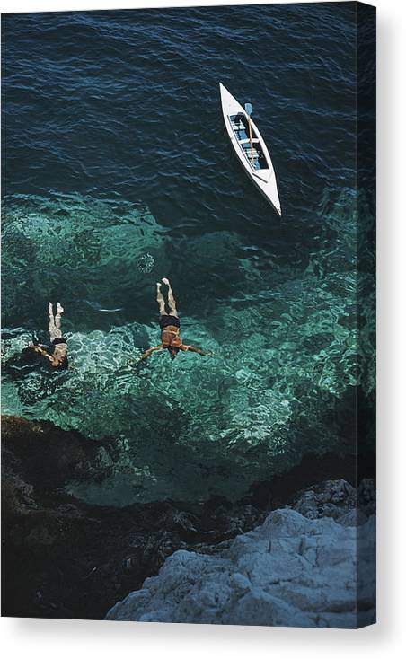 People Canvas Print featuring the photograph Capri Holiday by Slim Aarons