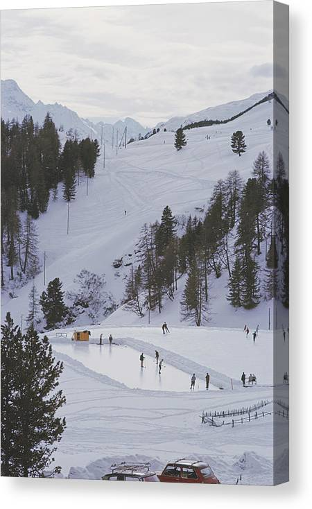 People Canvas Print featuring the photograph Curling At St. Moritz by Slim Aarons