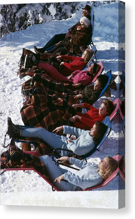 Gstaad Canvas Print featuring the photograph Winter Suntans by Slim Aarons