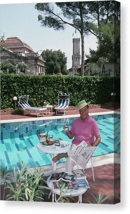 Straw Hat Canvas Print featuring the photograph Sirio Maccioni by Slim Aarons