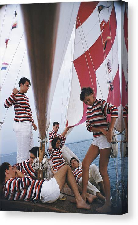 Young Men Canvas Print featuring the photograph Adriatic Sailors by Slim Aarons