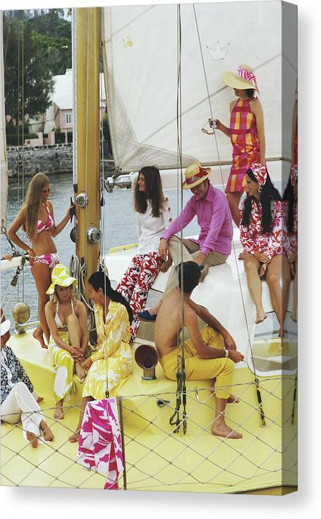 People Canvas Print featuring the photograph Colourful Crew by Slim Aarons