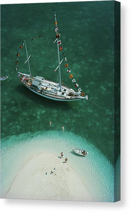 People Canvas Print featuring the photograph Exuma Holiday by Slim Aarons
