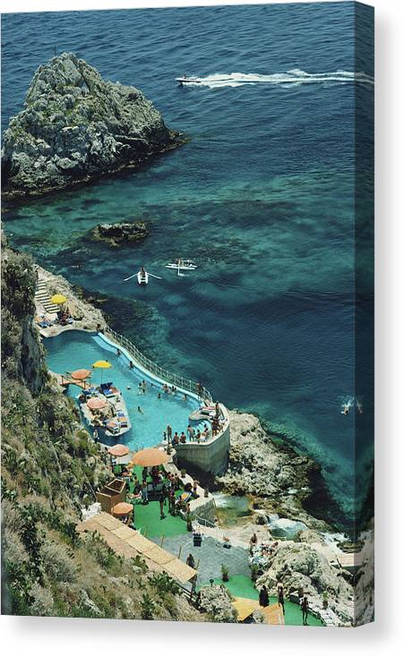 People Canvas Print featuring the photograph Hotel Taormina Pool by Slim Aarons