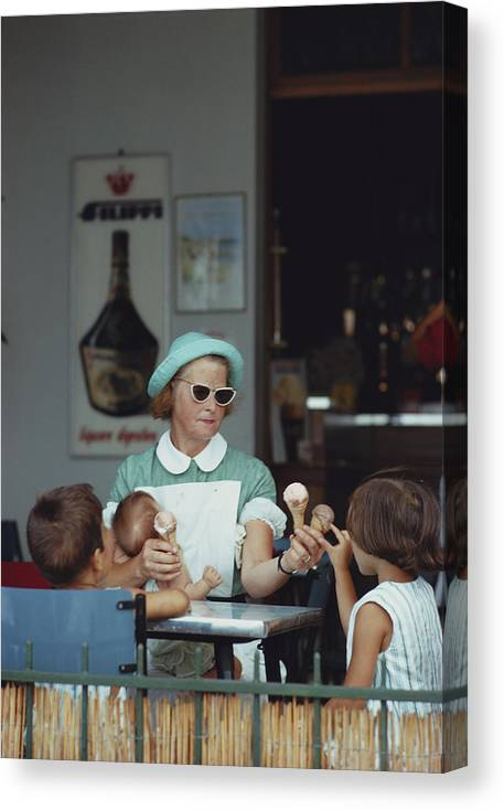 Child Canvas Print featuring the photograph Ice Cream Time by Slim Aarons