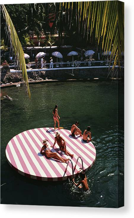 People Canvas Print featuring the photograph La Concha Beach Club by Slim Aarons