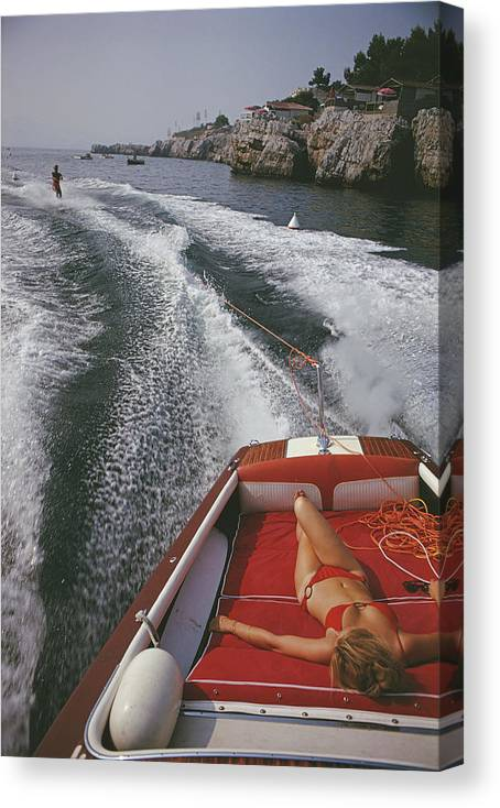 People Canvas Print featuring the photograph Leisure In Antibes by Slim Aarons