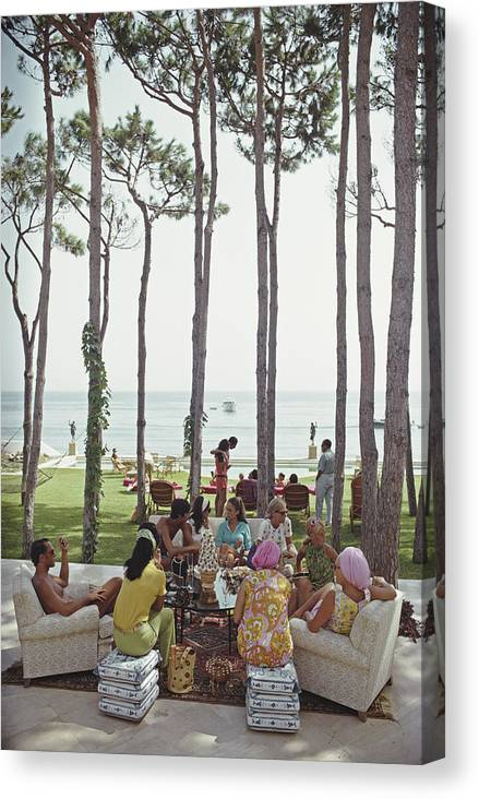 People Canvas Print featuring the photograph Marbella House Party by Slim Aarons