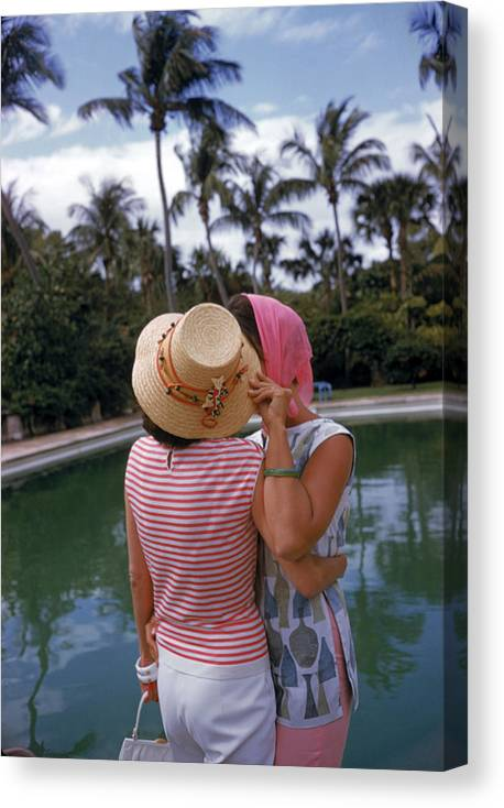 Lilly Pulitzer Canvas Print featuring the photograph Poolside Secrets by Slim Aarons