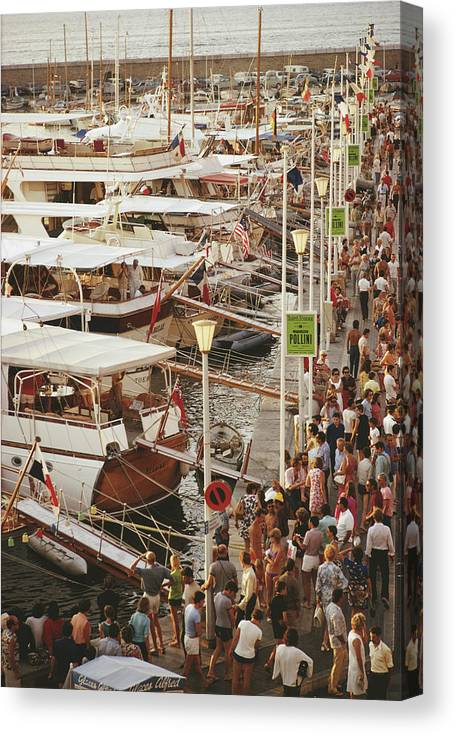 Water's Edge Canvas Print featuring the photograph Saint-tropez Seafront by Slim Aarons