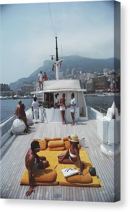 1980-1989 Canvas Print featuring the photograph Scottis Yacht by Slim Aarons