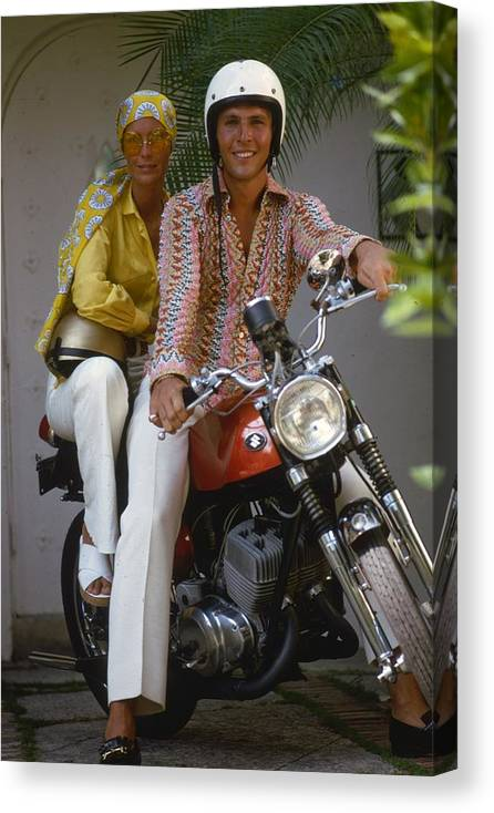 Sports Helmet Canvas Print featuring the photograph Socialite Bikers by Slim Aarons