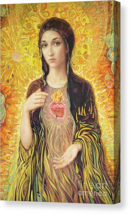 Immaculate Heart Of Mary Canvas Print featuring the painting Immaculate Heart of Mary olmc by Smith Catholic Art