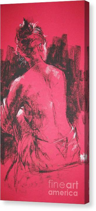 Figurative Canvas Print featuring the painting Figure in Red by Tina Siddiqui