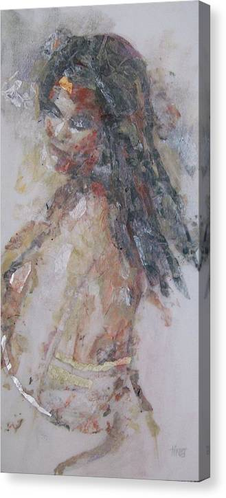 Figurative Canvas Print featuring the painting Looking Back by Tina Siddiqui