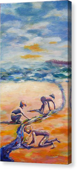 Our Kids Playing On The Beach Creating A River That They Feel Very Protective Of.  Canvas Print featuring the painting Protecting Our River by Naomi Gerrard