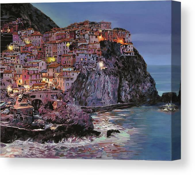 Manarola Canvas Print featuring the painting Manarola al crepuscolo by Guido Borelli