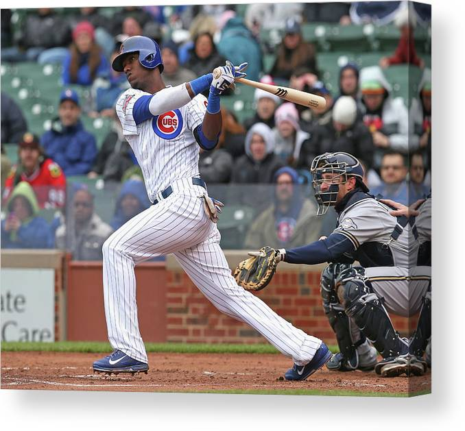 National League Baseball Canvas Print featuring the photograph Milwaukee Brewers V Chicago Cubs by Jonathan Daniel