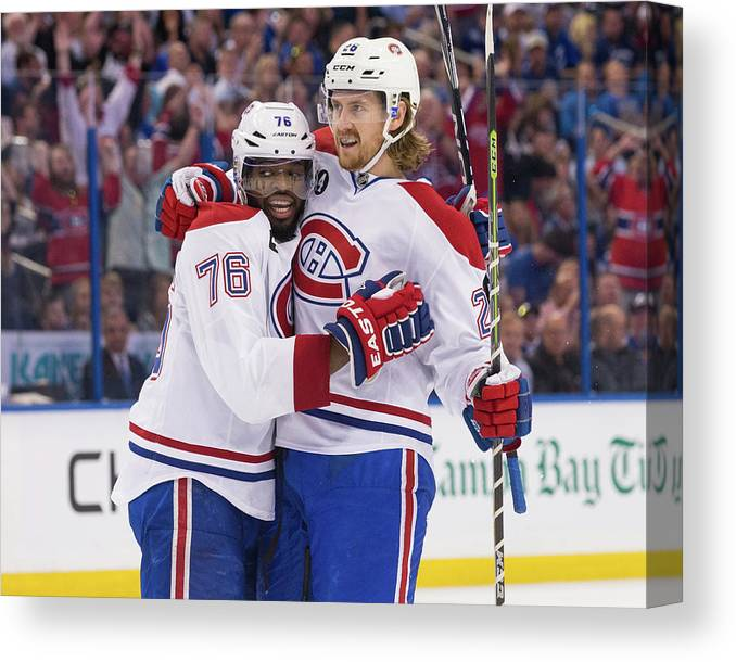 Playoffs Canvas Print featuring the photograph Montreal Canadiens V Tampa Bay by Scott Audette