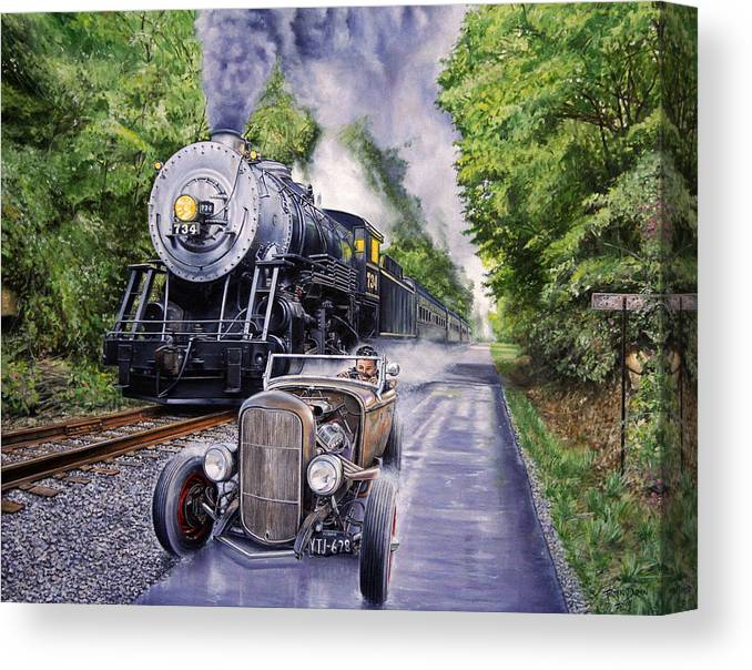 Hot Rod Canvas Print featuring the painting Backwoods Duel by Ruben Duran