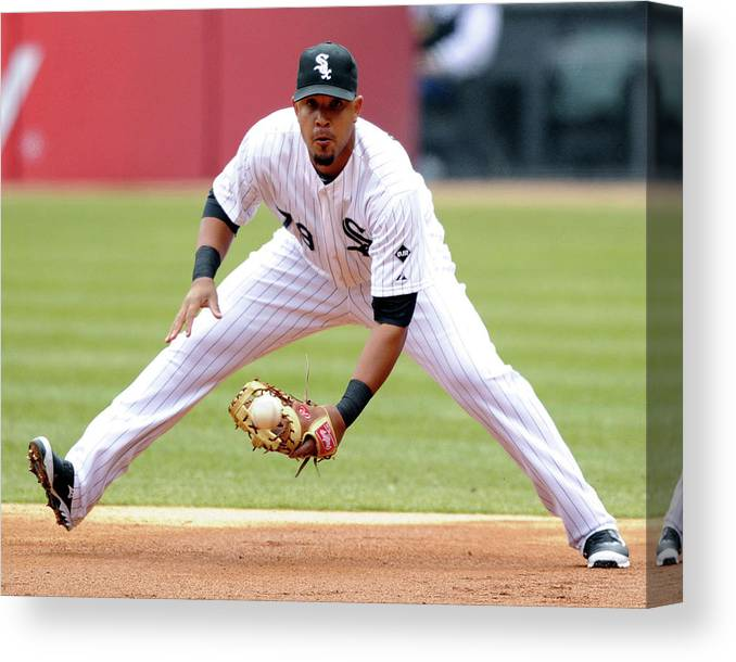 American League Baseball Canvas Print featuring the photograph Minnesota Twins V Chicago White Sox by Ron Vesely