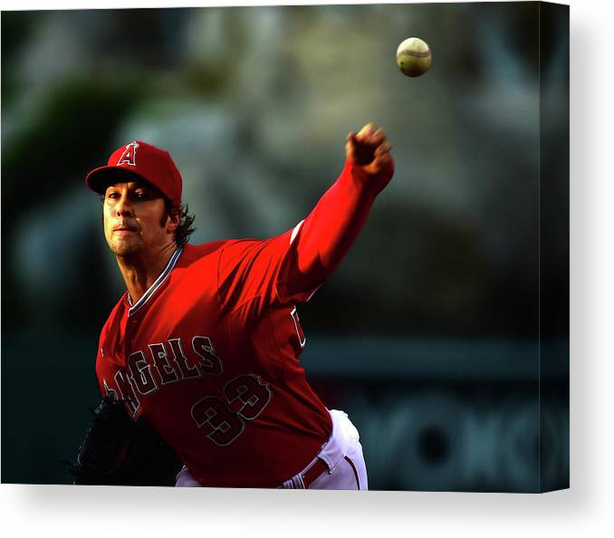 People Canvas Print featuring the photograph Oakland Athletics V Los Angeles Angels by Harry How