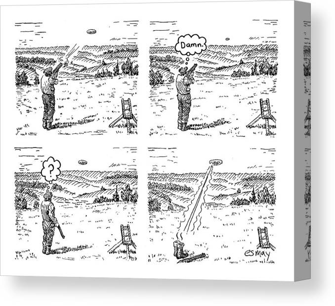 4 Panels. Man Shoots At A Grout Which Then Turns Out To Be An Alien Spacecraft That Shoots Him.  Media Id 133711 Canvas Print featuring the drawing 4 Panels. Man Shoots At A Grout Which Then Turns by Rob Esmay
