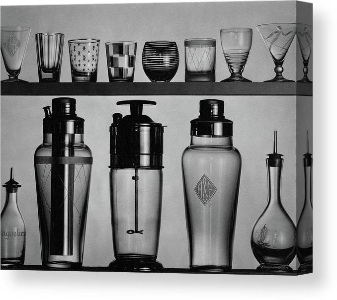 Accessories Canvas Print featuring the photograph A Row Of Glasses On A Shelf by The 3